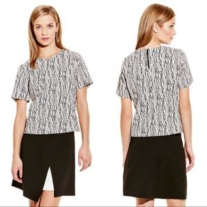 Vince Camuto linear scratches short sleeve top